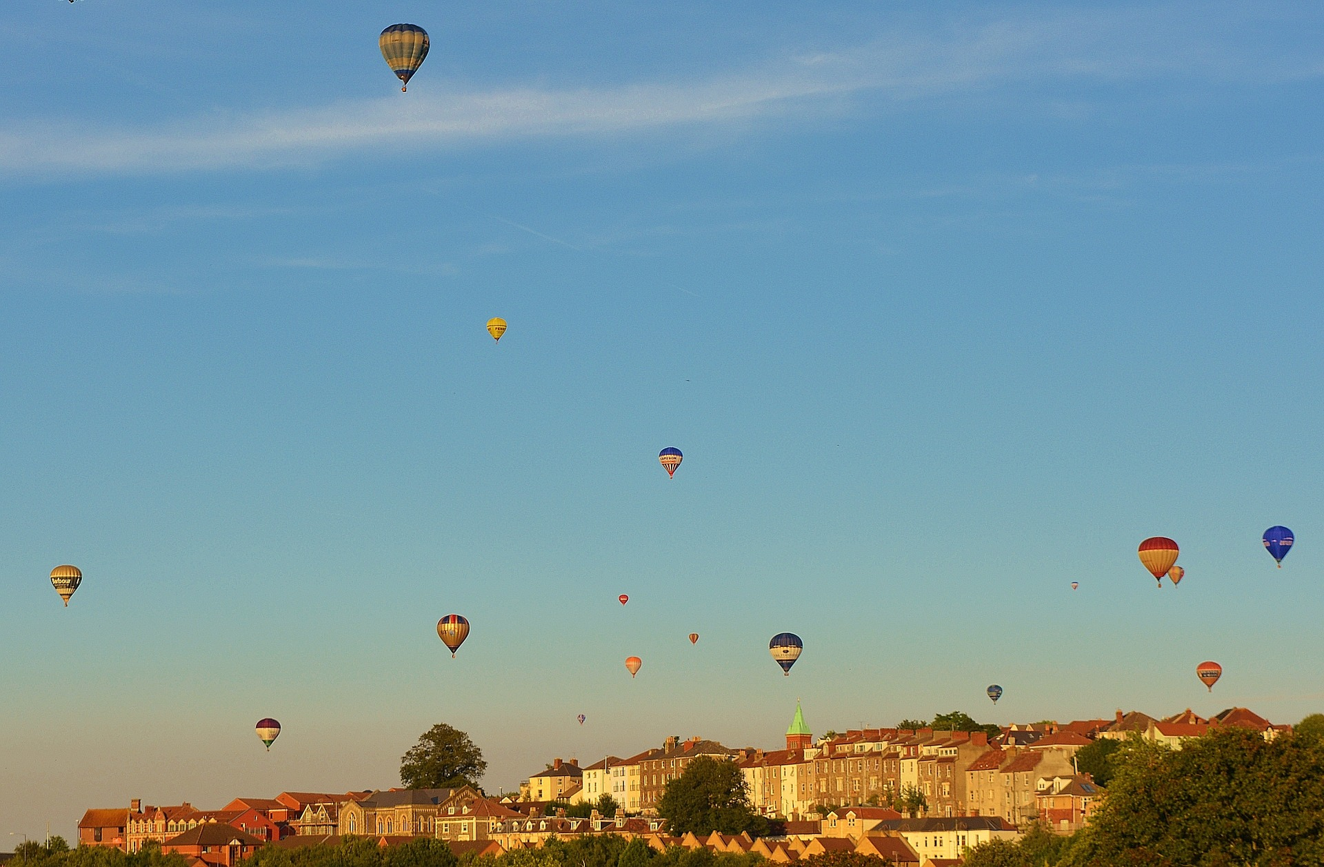 Hot air balloons in the sky over Bristol's iconic city scape