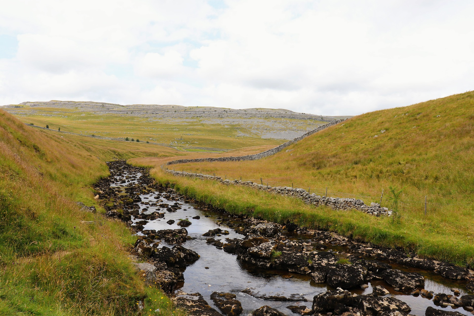 Outdoor scene of sweeping dales with river running through