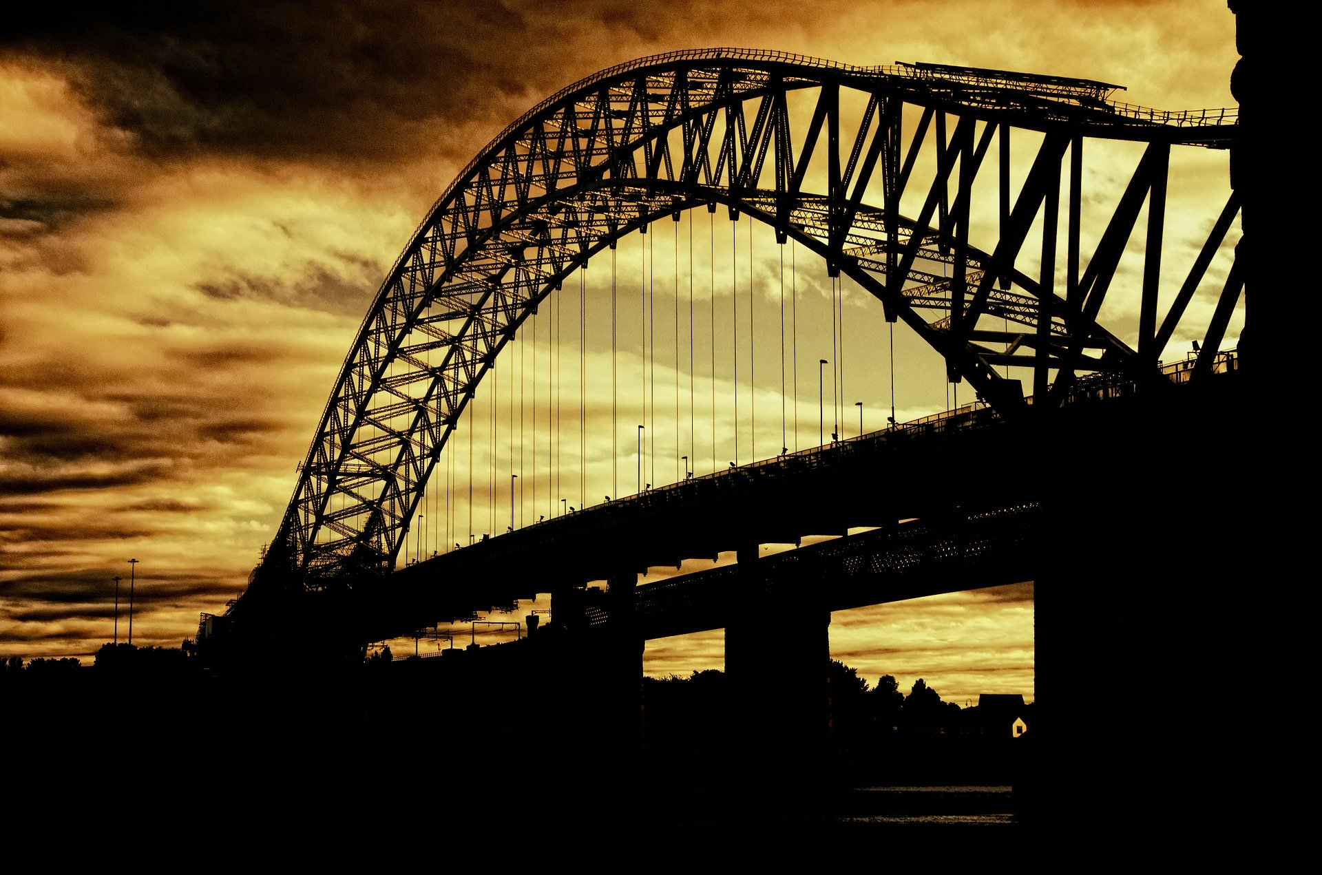 Silhouette outline of beautiful arch cantilever bridge