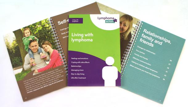 Photo of our green, A5 Living with lymphoma booklets
