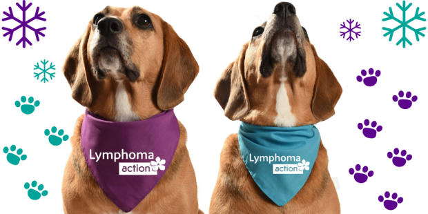 Two dogs in Lymphoma Action bandanas