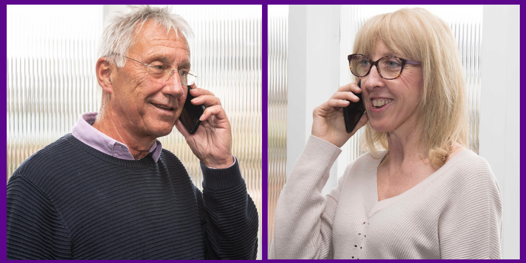 Male and female on the phone offering support