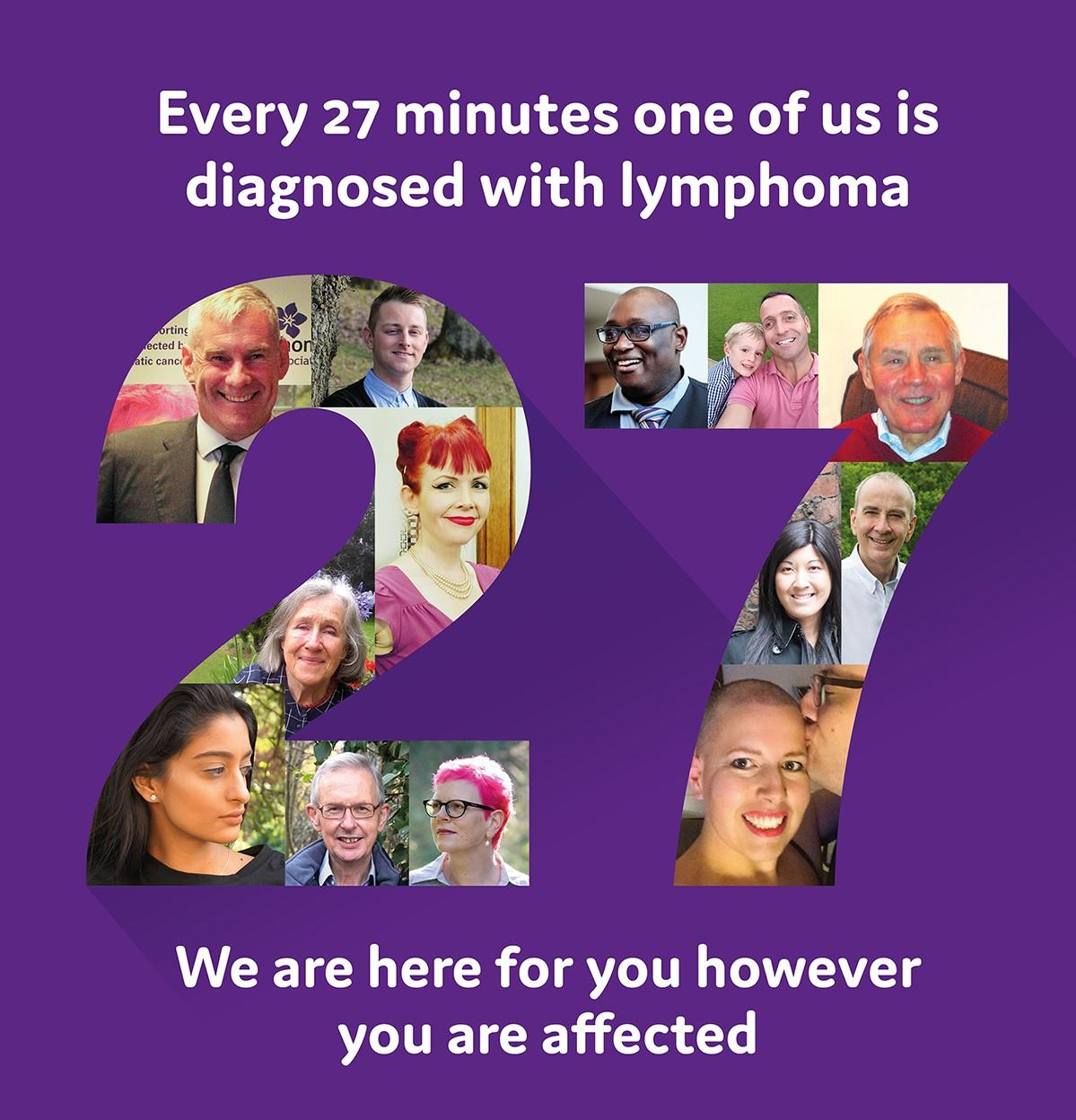 Image highlighting every 27 minutes one of us is diagnosed with lymphoma