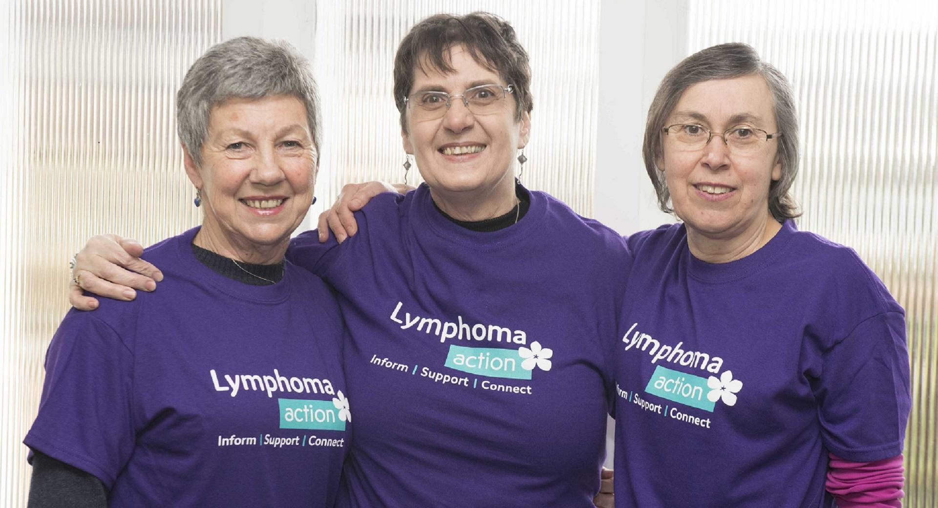 Three women Lymphoma Action t-shirts Essex Support Group