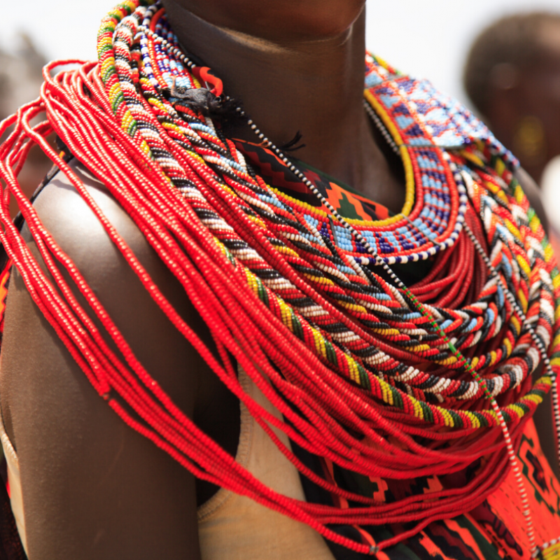 Colourful necklace worn by Maasai