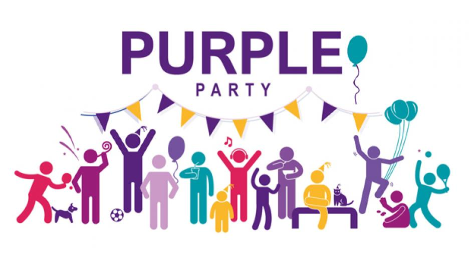 Purple party graphic