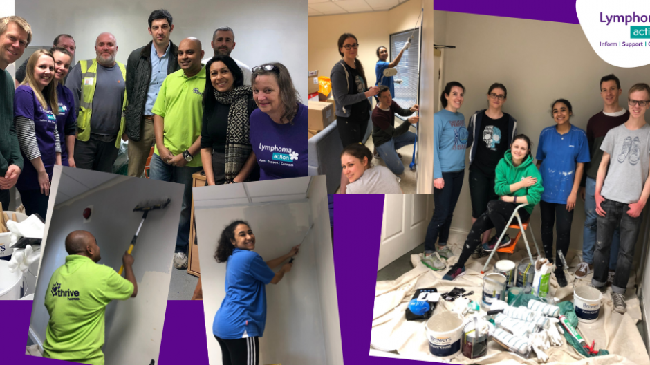Office painting volunteers collage