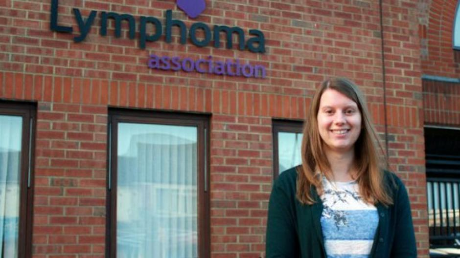 Rachel in front of Lymphoma Action's office