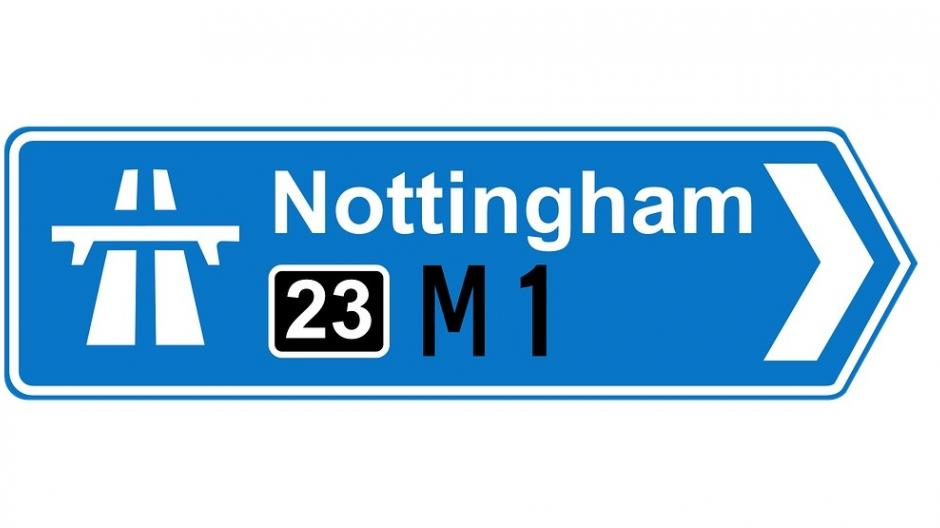 Motorway sign for Nottingham M1
