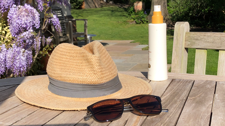 Sunhat, sunglasses and sunscreen