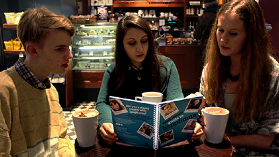 Three young people reading Young person's guide to lymphoma