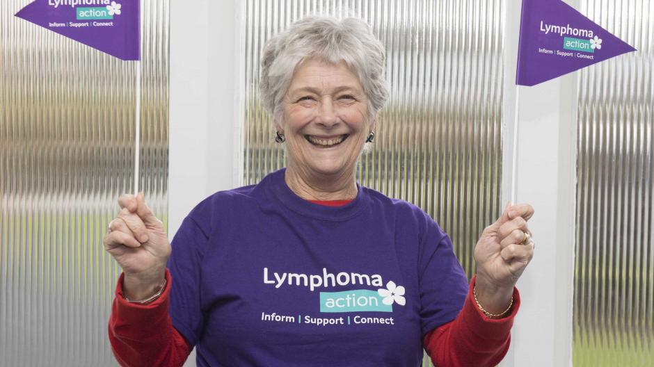 Female with lymphoma Action flags